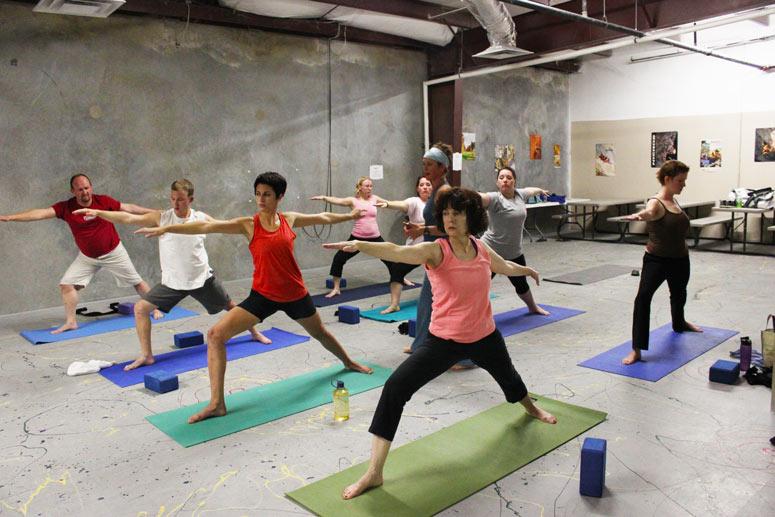Yoga at the Little Rock Climbing Center.