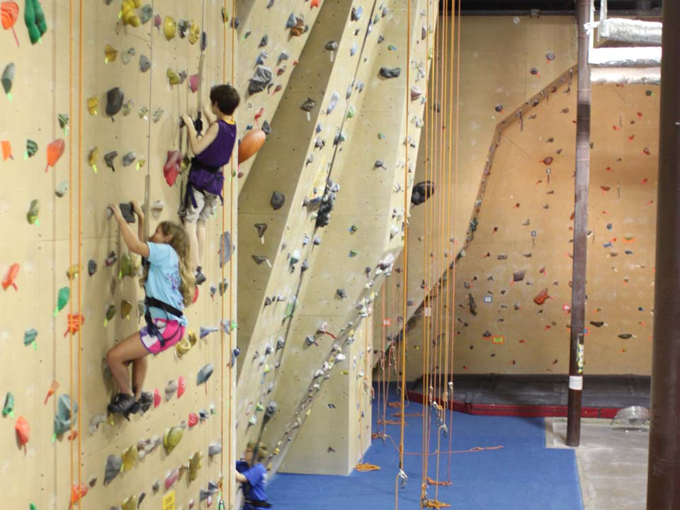 Rock climbing class for scouts at the Little Rock Climbing Center.